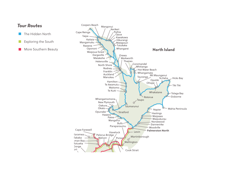 North Island Tour Map