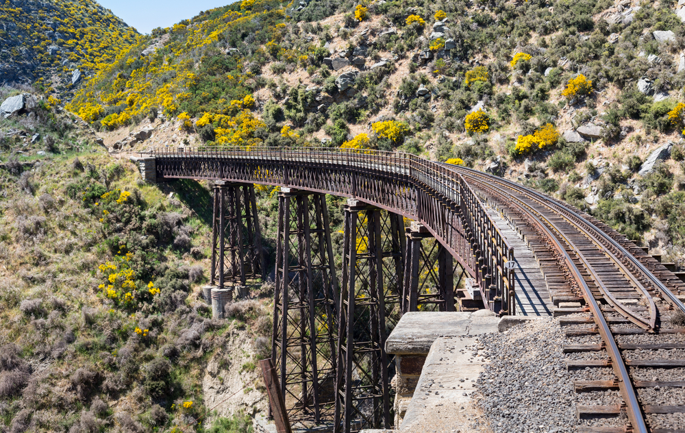 railway-track-of-taieri-gorge-tourist-railway-crosses-a-steel-trestle-bridge-across-a-ravine-on-its-journey-up-the-valley